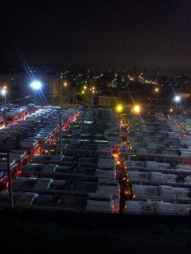 Muni busses at night