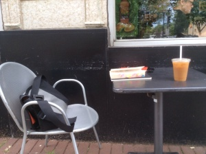 People leave their stuff outside when they go inside Brothers K Coffee to get something to drink.